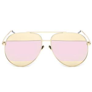 Stylish Two Color Match Lenses Hipsters Sunglasses For Unisex Aviator - Pink