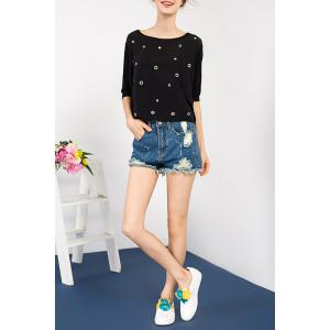 Batwing Sleeve Cut Out T-Shirt -