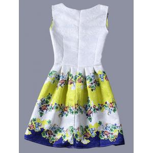 Cute Round Neck Sleeveless Floral Color Blcck Women's Dress -