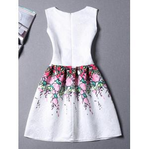 Stylish Jewel Neck Sleeveless Floral Dress For Women -