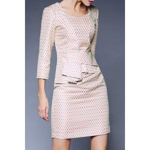 Sweetheart Neck Jacquard Peplum Dress -