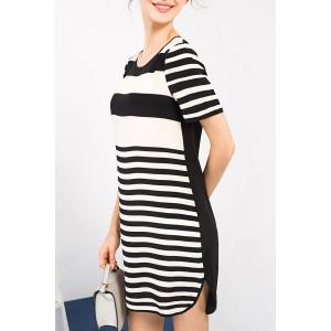 Stripe Print Silk Dress -