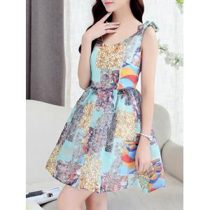Simple Style Women's V Neck Sleeveless Organza Print Dress -
