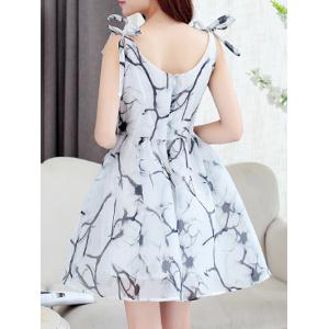 Simple Style Women's Organza Print V Neck Sleeveless Dress -