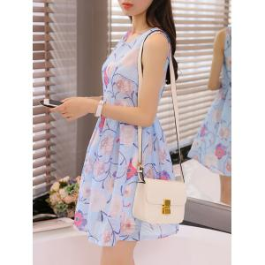 Simple Style Women's Organza Floral Print Jewel Neck Sleeveless Sky Blue Dress -