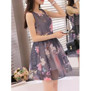 Simple Style Women's Organza Floral Print Jewel Neck Sleeveless Black Dress -