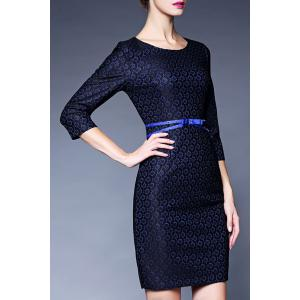 Lace Belted Fitted Dress -