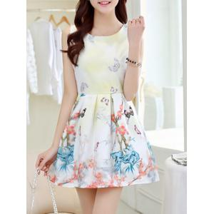 Simple Style Women's Butterfly Print Jewel Neck Sleeveless Dress - Light Yellow - L