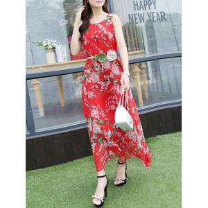 Endearing Tiny Floral Print Scoop Neck Sleeveless Chiffon Dress For Women -