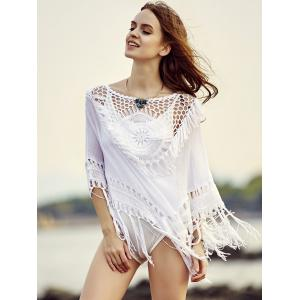 Stylish Round Neck Cowl Tassels Cut Out Women's Cover Up -