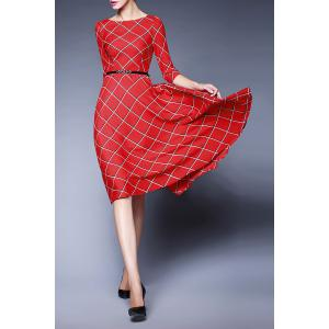 Plaid Belted Swing Dress -