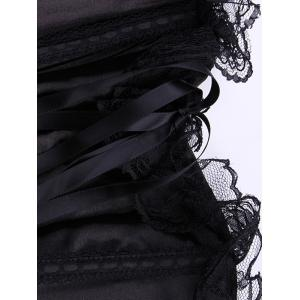 Stylish Lace Embellished Solid Color Women's Corset + Briefs -