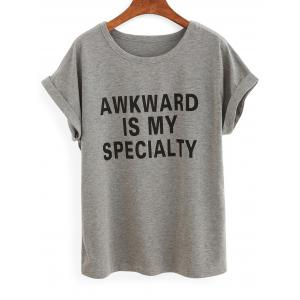 Casual Rolled Sleeve Lettering Women's Grey T-Shirt - Gray - S