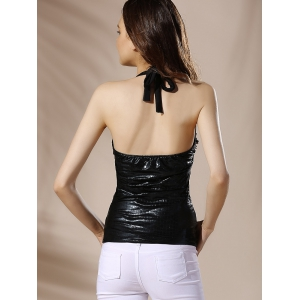 Fashionable Halter Criss-Cross Solid Color Backless Women's Tank Top - BLACK S