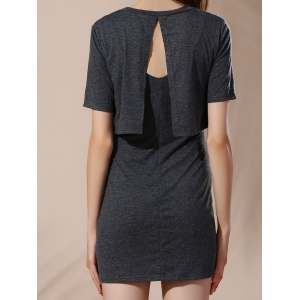 Backless Solid Color Overlay Dress - BLACK GREY L