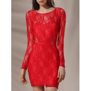 Mini Low Back Lace Long Sleeve Cocktail Dress
