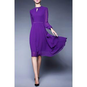 Midi Long Sleeve Chiffon Dress -