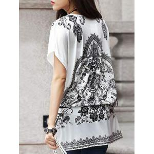 Ethnic Style Tribal Print Loose-Fitting Women's Belted T-Shirt -