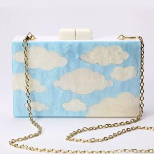 Charming Clouds Print and Chains Design Evening Bag For Women -