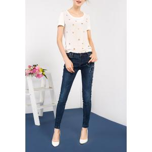 Embroidered Sheath Jeans -