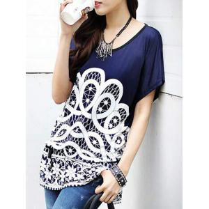 Ethnic Style Women's Printed Loose-Fitting Belted T-Shirt -