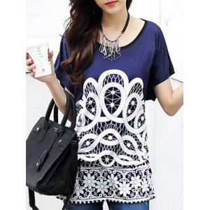 Ethnic Style Women's Printed Loose-Fitting Belted T-Shirt