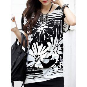 Casual Women's Floral Printed Loose-Fitting Belted T-Shirt -