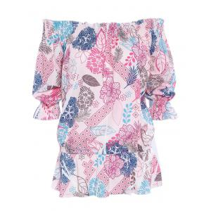 Simple Style Women's Off The Shoulder Print Blouse -