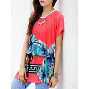 Casual Floral Printed Loose-Fitting Belted Women's T-Shirt -