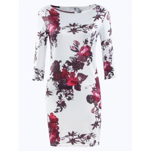 Three Quarter Sleeve Floral Print Bodycon Dress