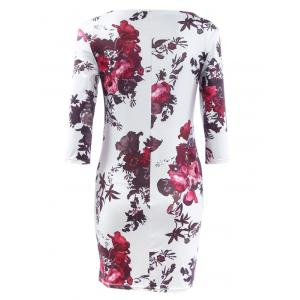 Three Quarter Sleeve Floral Print Bodycon Dress -