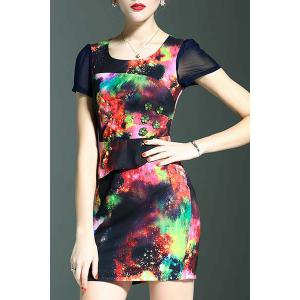 Stylish Round Neck Short Sleeve Fitted Beading Printed Women's Dress -