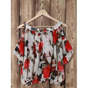 Fashionable Scoop Neck Off-The-Shoulder Floral Print Chiffon Women's Blouse