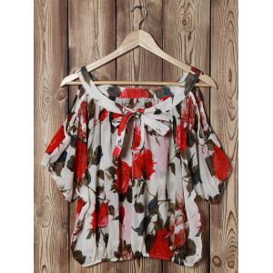 Fashionable Scoop Neck Off-The-Shoulder Floral Print Chiffon Women's Blouse - OFF WHITE ONE SIZE