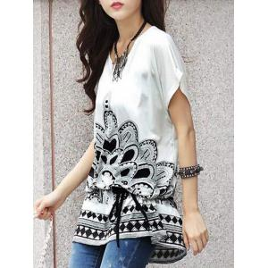 Fashionable Women's Short Sleeve Floral Print Loose-Fitting T-Shirt -