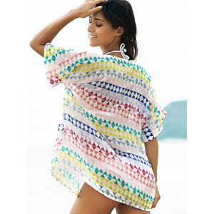Stylish Plunging Neck Bat-Wing Sleeve Loose Geometric Print Women's Cover Up -