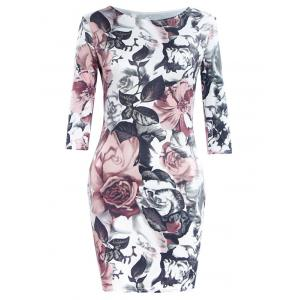 Simple Style Women's Flower Print Round Neck Short Sleeve Dress - Colormix - Xl