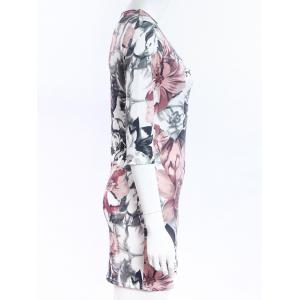 Simple Style Women's Flower Print Round Neck Short Sleeve Dress - COLORMIX S