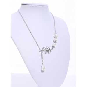 Faux Pearl Embellished Leaf Pendant Necklace - AS THE PICTURE