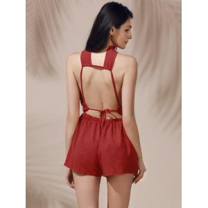 Sleeveless High Waisted Open Back Cut Out Romper -