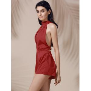 Sleeveless High Waisted Open Back Cut Out Romper - DEEP RED L