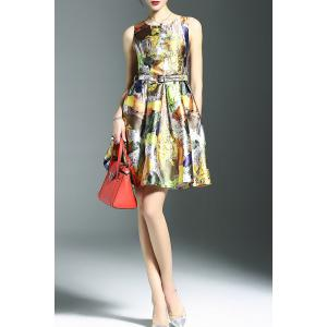 Stylish Round Neck Sleeveless Belted Printed Women's Dress -