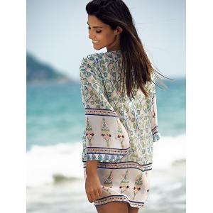Stylish Open Front Printed Women's Chiffon Cover-Up -