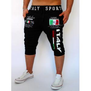 Lace-Up Flag and Letters Print Beam Feet Cropped Pants For Men - Black - M