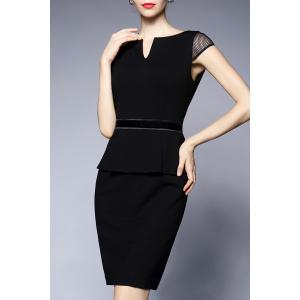 V-Neck Sheath Peplum Dress -