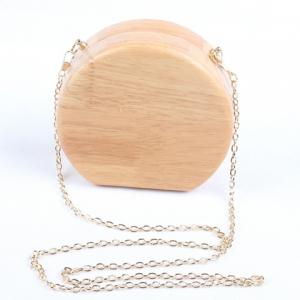 Concise Wooden and Chains Design Evening Bag For Women -