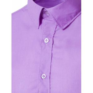 Turn-Down Collar Solid Color Slimming Long Sleeve Shirt For Men -