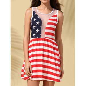American Flag See-Through Patriotic Dress
