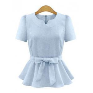 Elegant Short Sleeve Pure Color Ruffled Tie-Front Women's Blouse