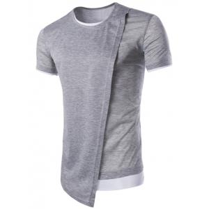 Asymmetric Top Fly Color Spliced Round Neck Short Sleeves Slimming T-Shirt For Men